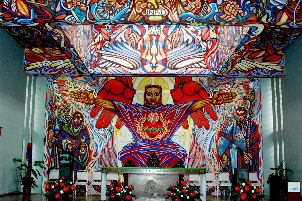 Mural painted by Alfonso Ossorio in Negros Occidental, Philippines, 1950